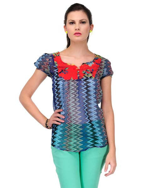 Yepme Esme Chevron Abstract Print Top - Blue