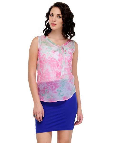 Yepme Katrin Printed Top - White & Pink