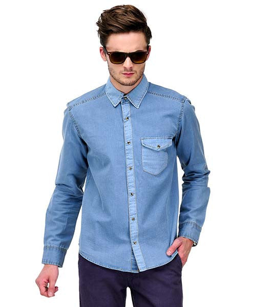 Yepme Julian Denim Shirt - Light Blue