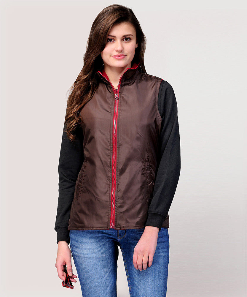 Yepme Diana Reversible Jacket - Brown & Maroon