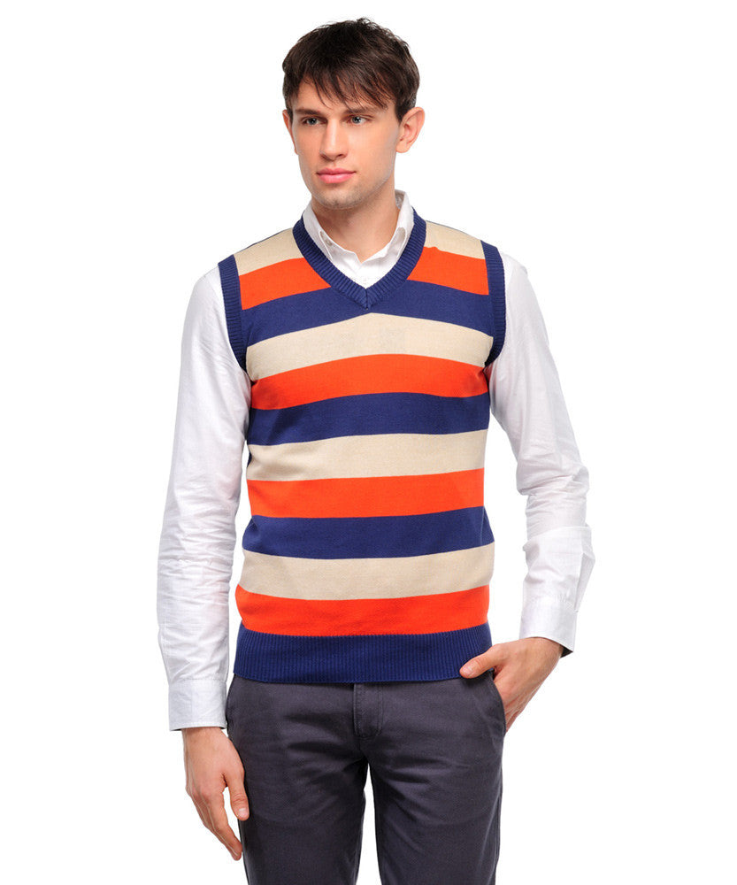 Yepme Paul Sweater - Orange & Blue