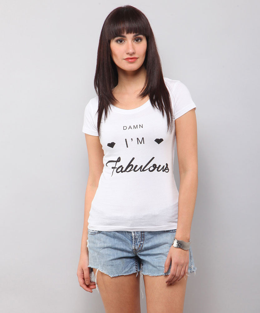 Yepme I Am fabulous Tee - White