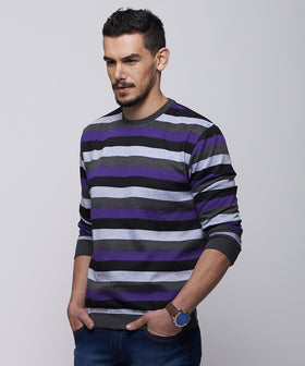 Yepme Simon Stripes Sweatshirt - Grey & Blue