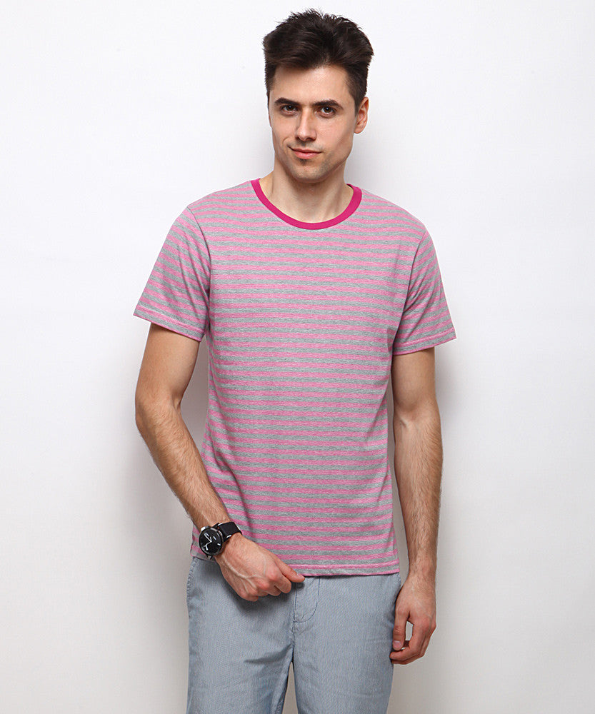Yepme Burton Stripes Tee - Pink & Grey