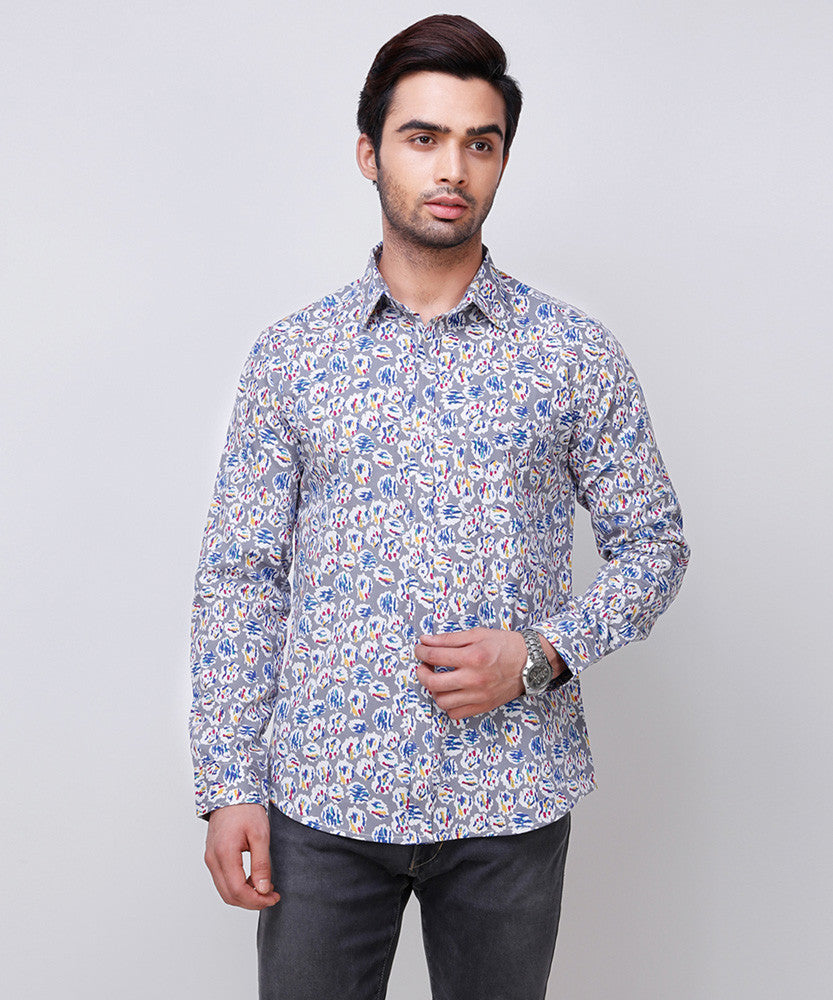 Yepme Benton Printed Shirt - Grey & Blue