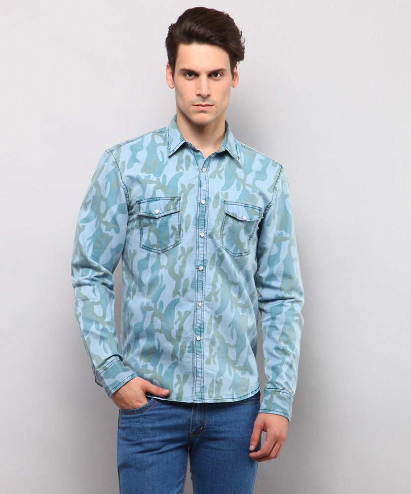 Yepme Corwin Printed Denim Shirt - Light Wash