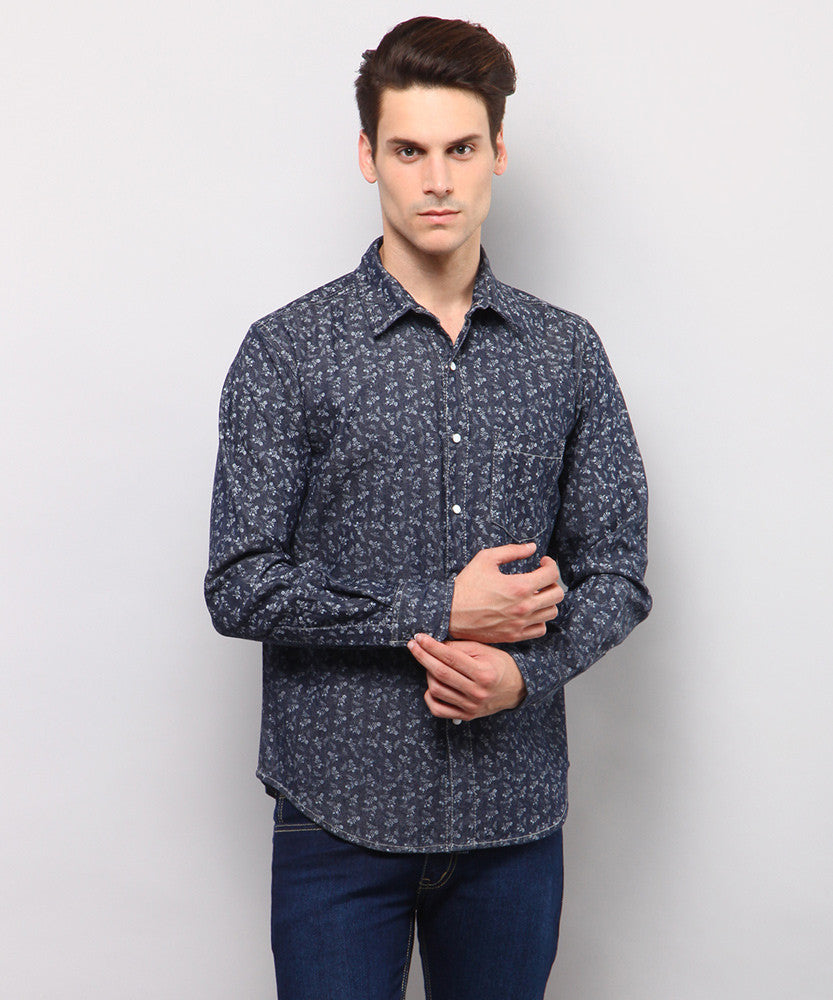 Yepme Melville Printed Denim Shirt - Dark Wash