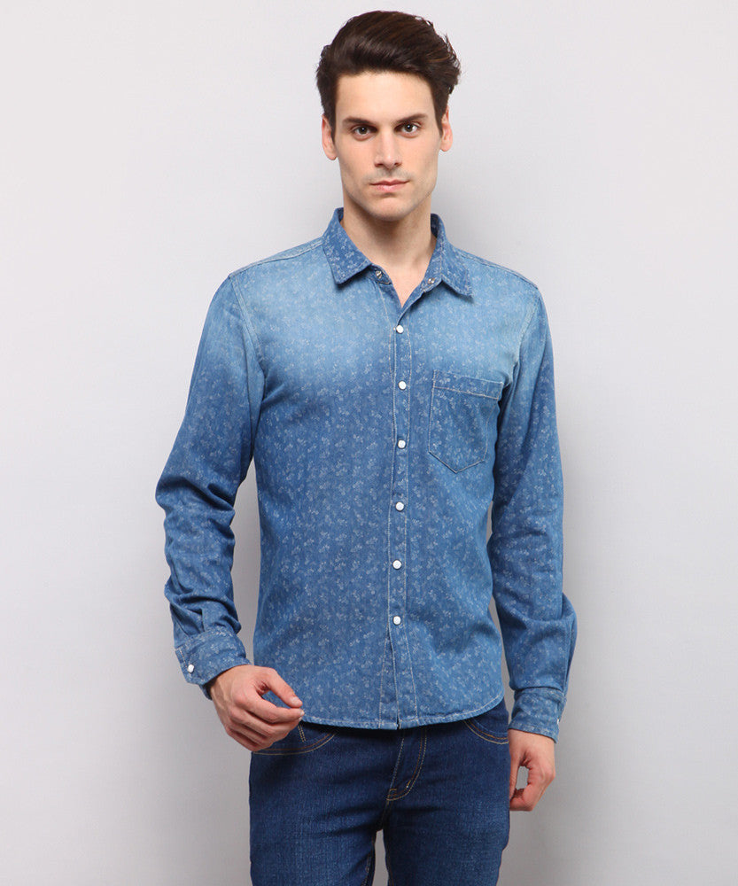 Yepme Melville Printed Denim Shirt - Medium Wash