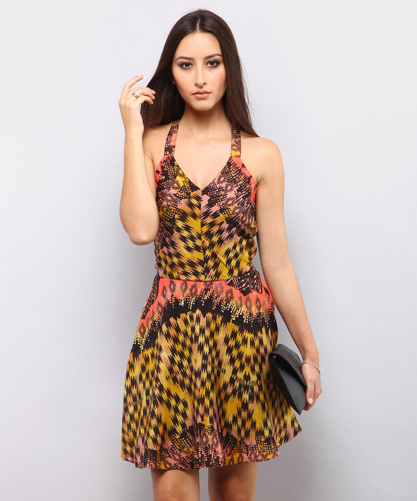 Yepme Romina Abstract Print Dress - Yellow & Black