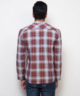 Yepme Wayne Check Kurta Shirt - Brown & Blue