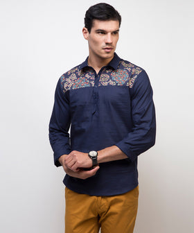 Yepme Warren Solid Kurta Shirt - Blue