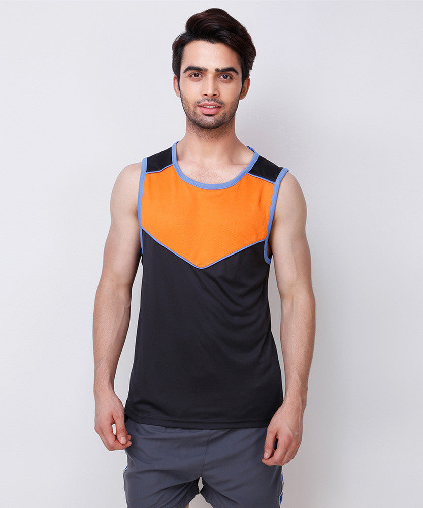 Yepme Boult Muscle Tee - Black & Orange