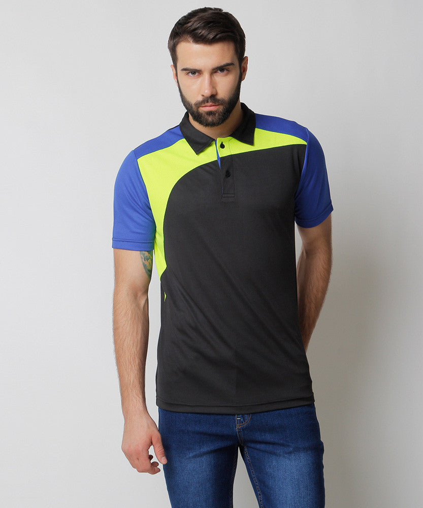 Yepme Dominee Sports Polo - Black & Green
