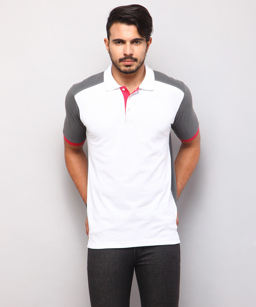 Yepme Reverie Polo Tee - White & Grey