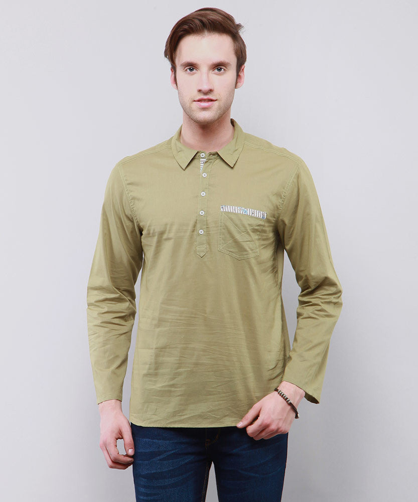 Yepme Leo Solid Kurta Shirt - Green