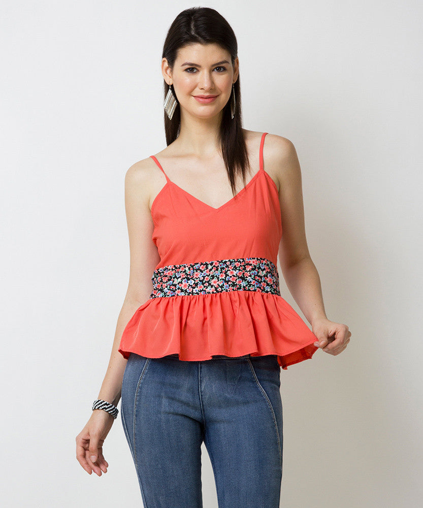 Yepme Britney Strappy Peplum Top - Coral