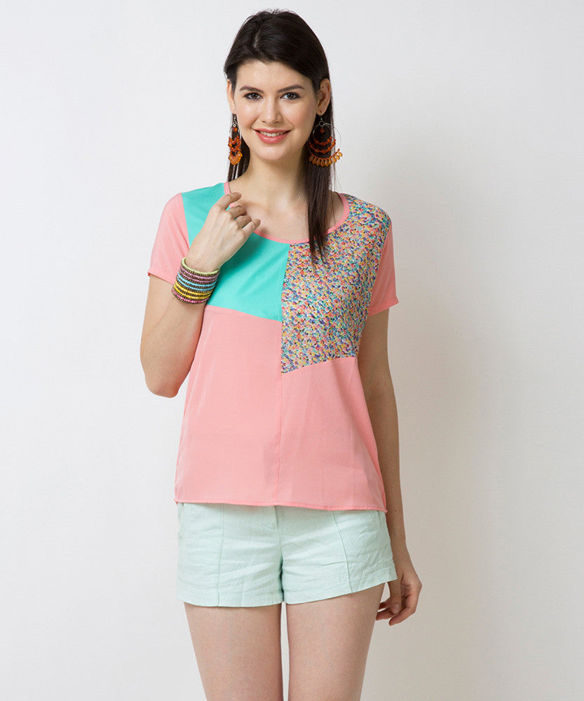 Yepme Mandie Color Block Top - Pink