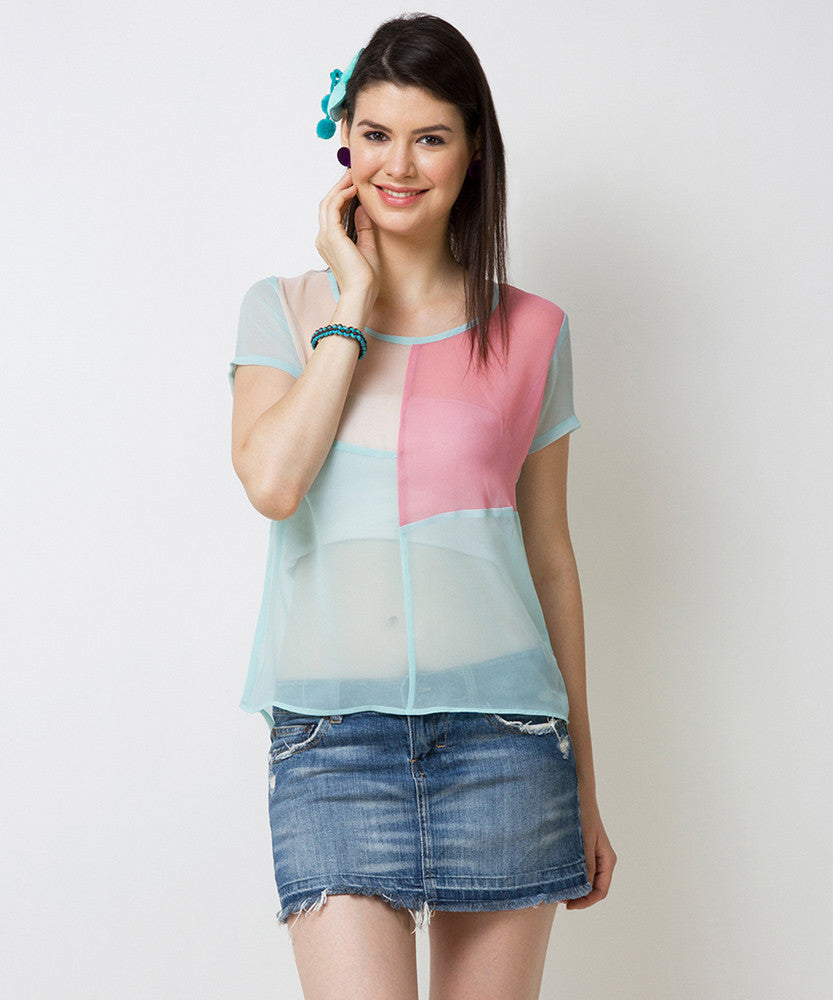 Yepme Mandie Color Block Top - Blue