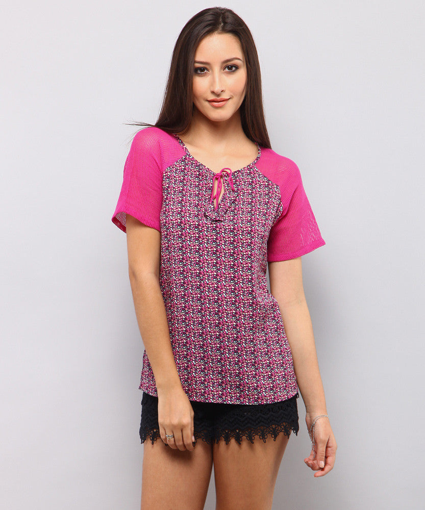 Yepme Rochella Tie-up Top - Pink & Violet