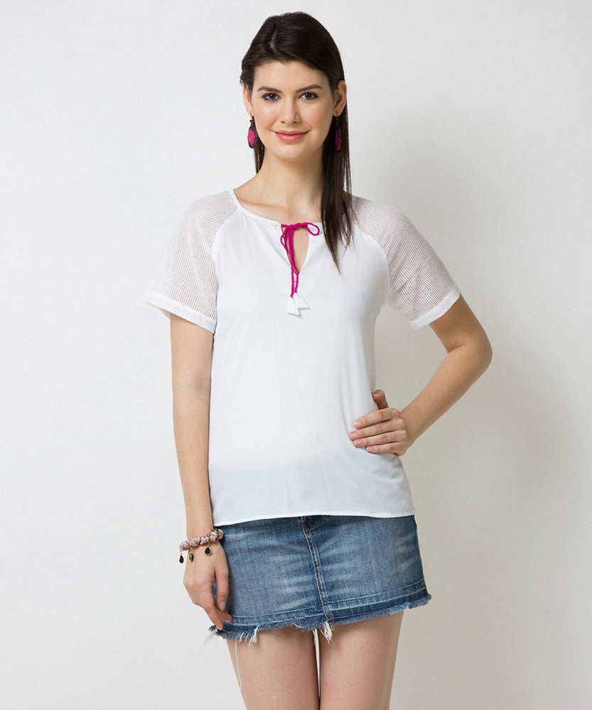 Yepme Rochella Tie-up Top - White