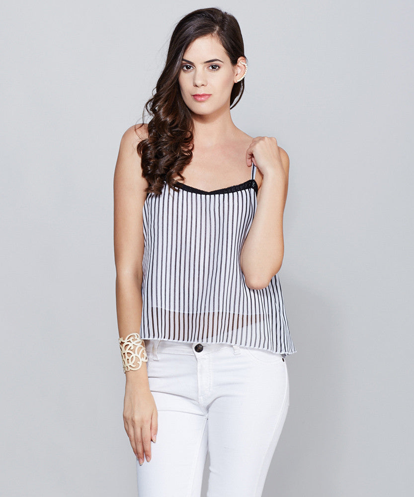 Yepme Slyvia Cami Top - Black & White