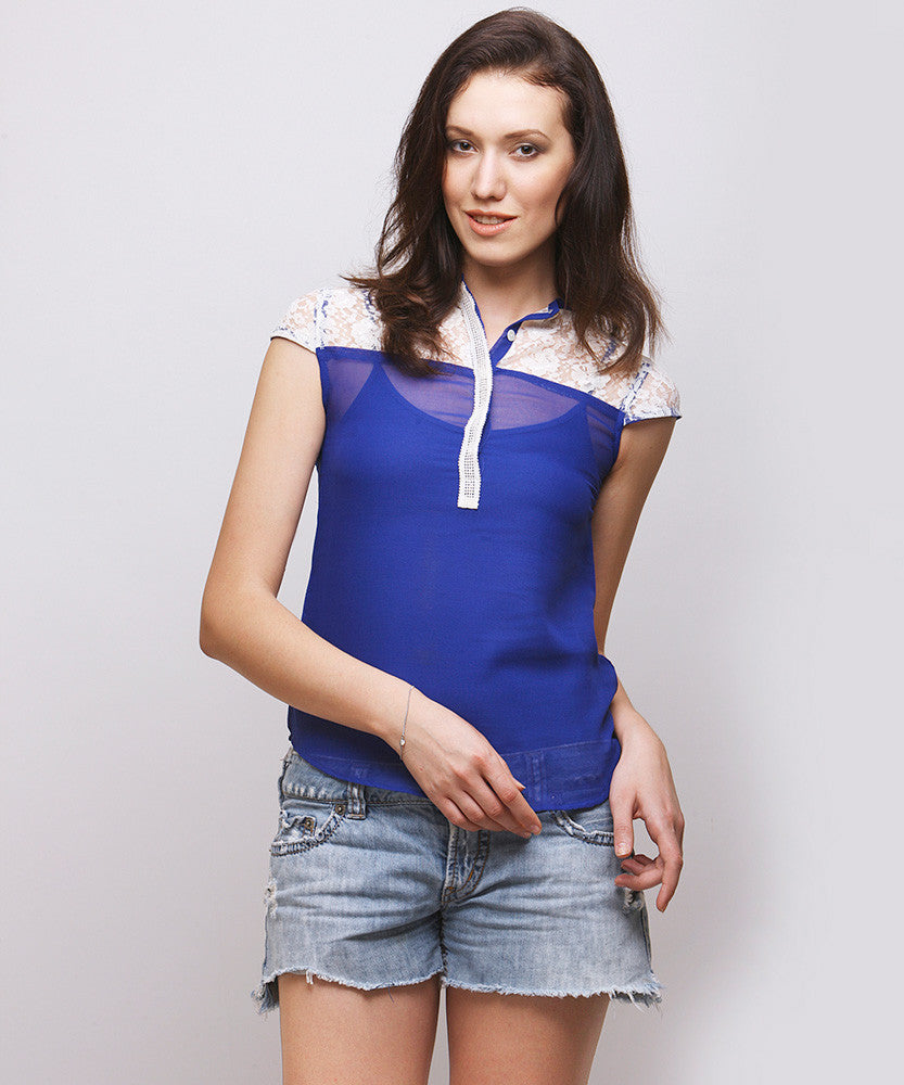 Yepme Sisily Lace Top - White & Blue