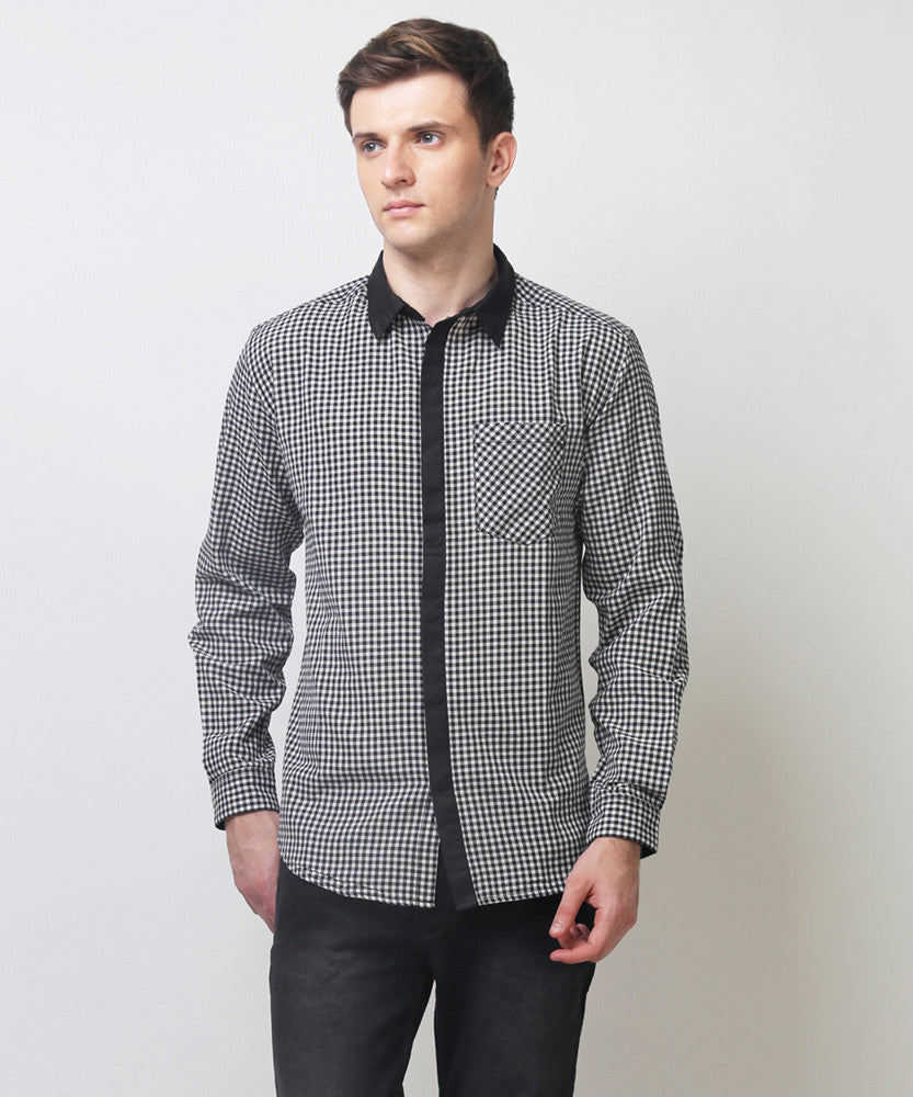Yepme Neiman Check Shirt - Black & White