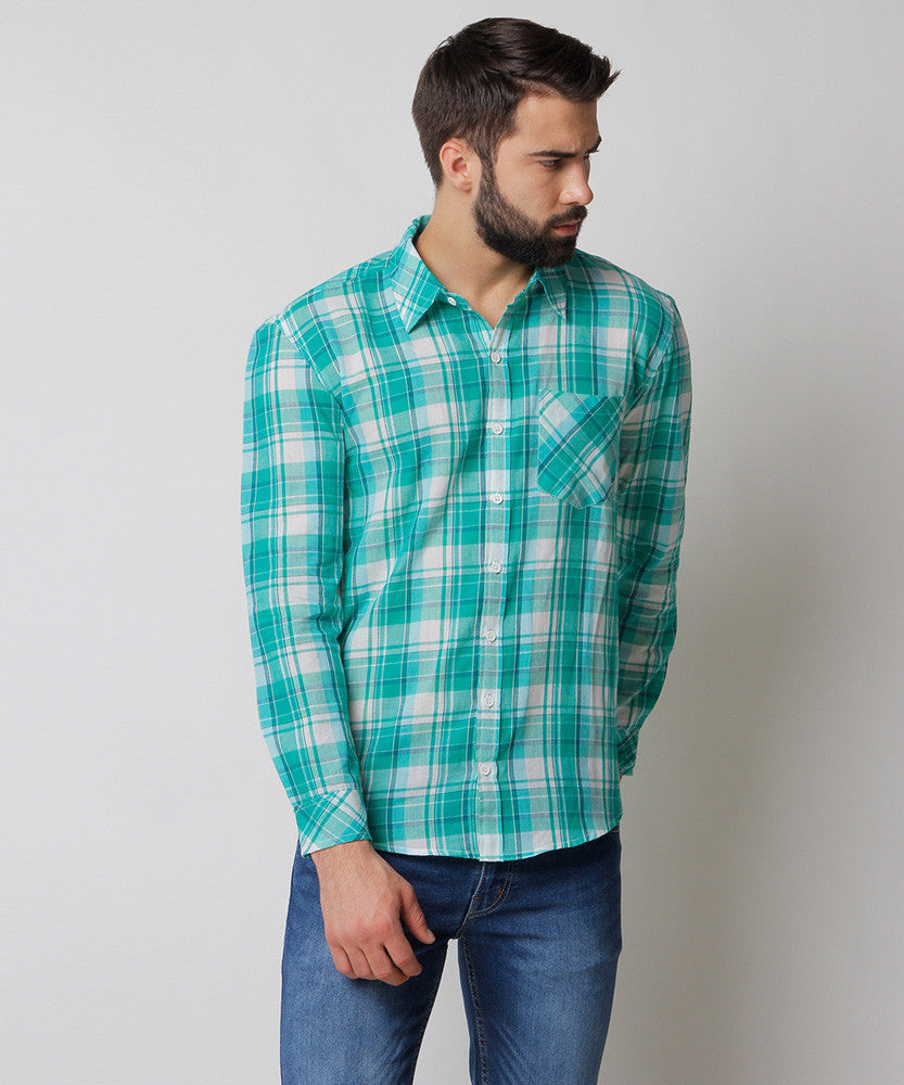 Yepme Blake Check Shirt - Green & White
