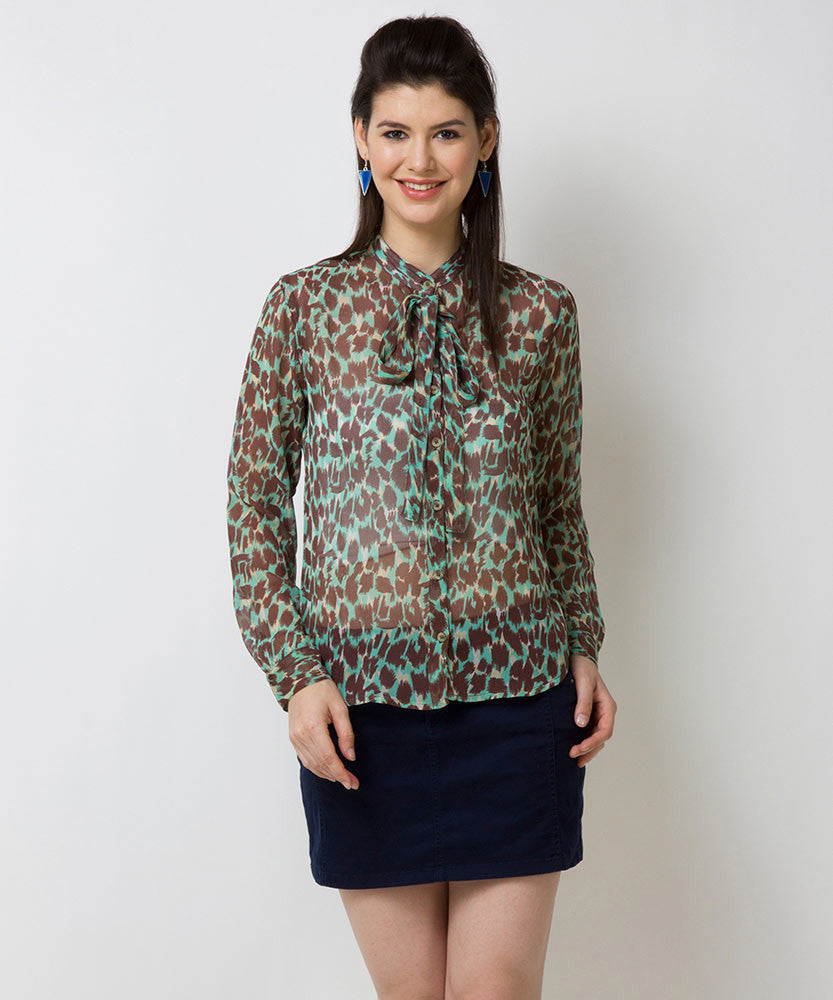 Yepme Verena Animal Print Top - Brown & Blue