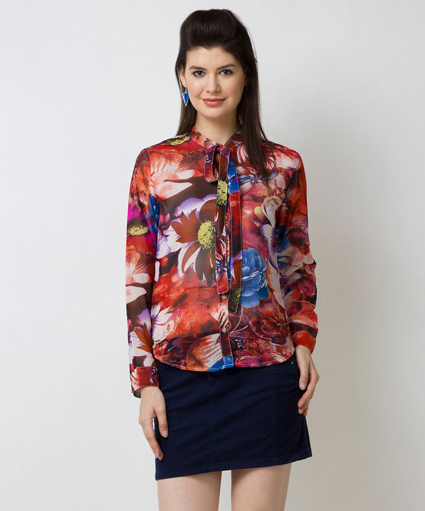 Yepme Verena Floral Print Top - Red & Multicolor