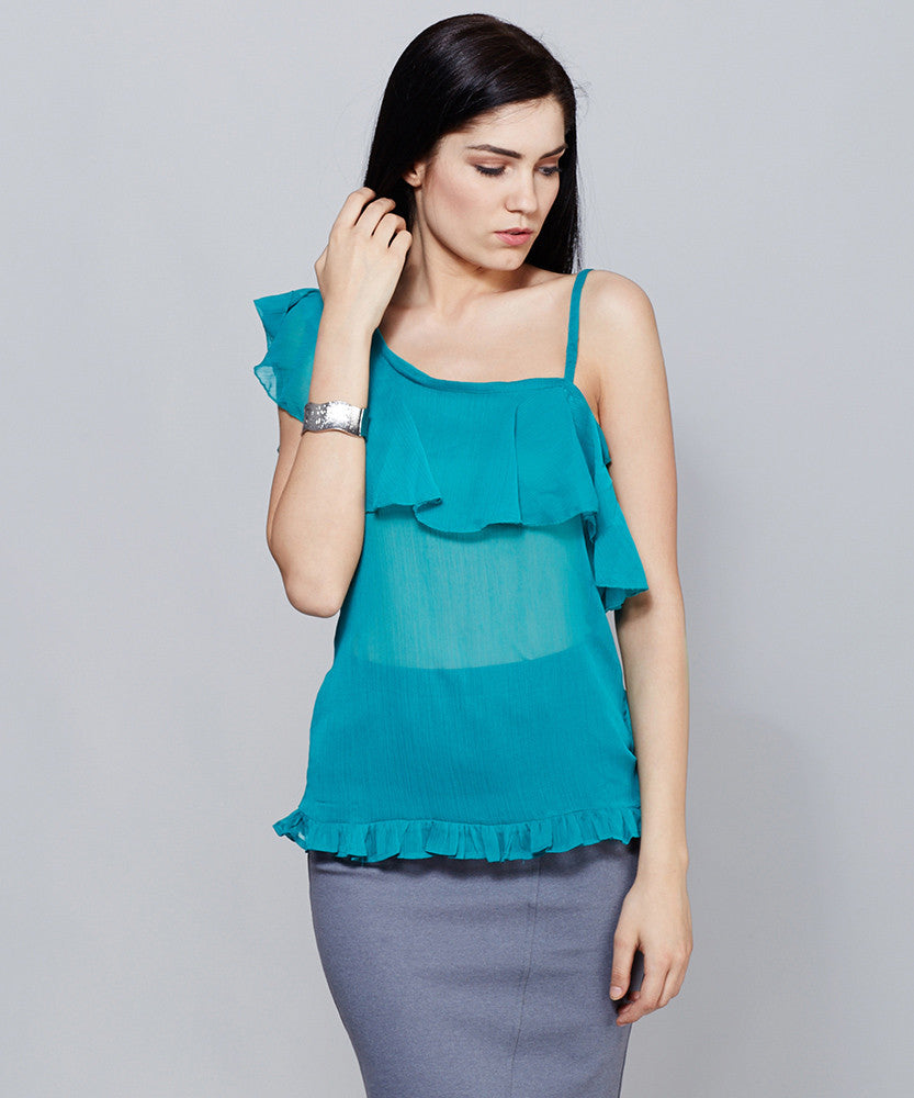 Yepme Leeza One Shoulder Top - Green