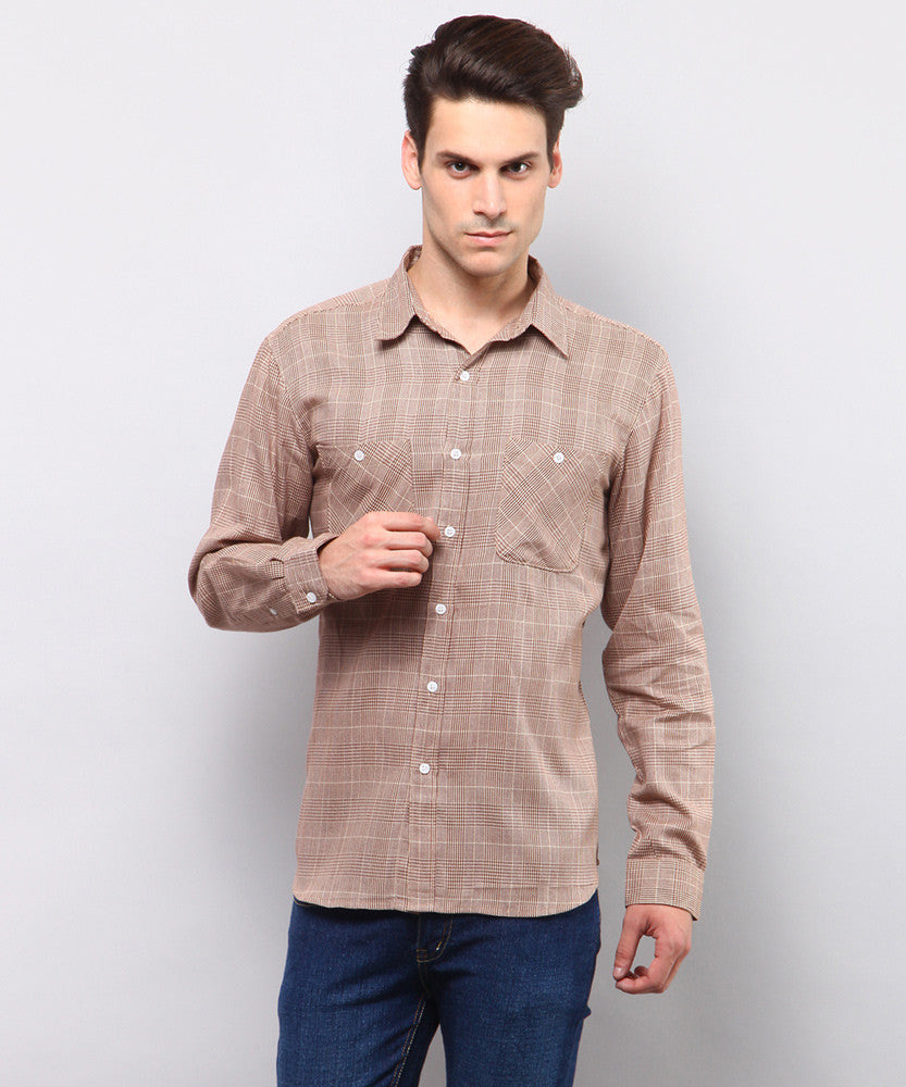 Yepme Jameson Check Shirt - Ecru & Brown