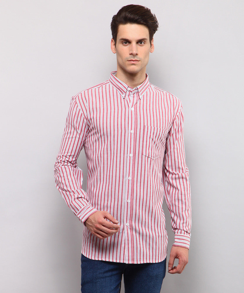 Yepme Hagen Stripes Shirt - Red & White