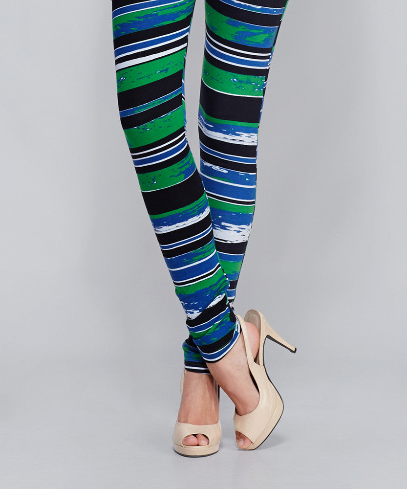 Yepme Alexis Printed Leggings - Black & Blue