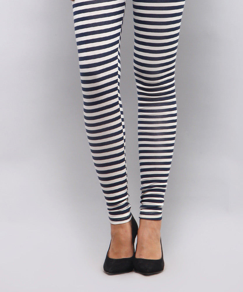 Yepme Alexis Zebra Print Leggings - White & Blue
