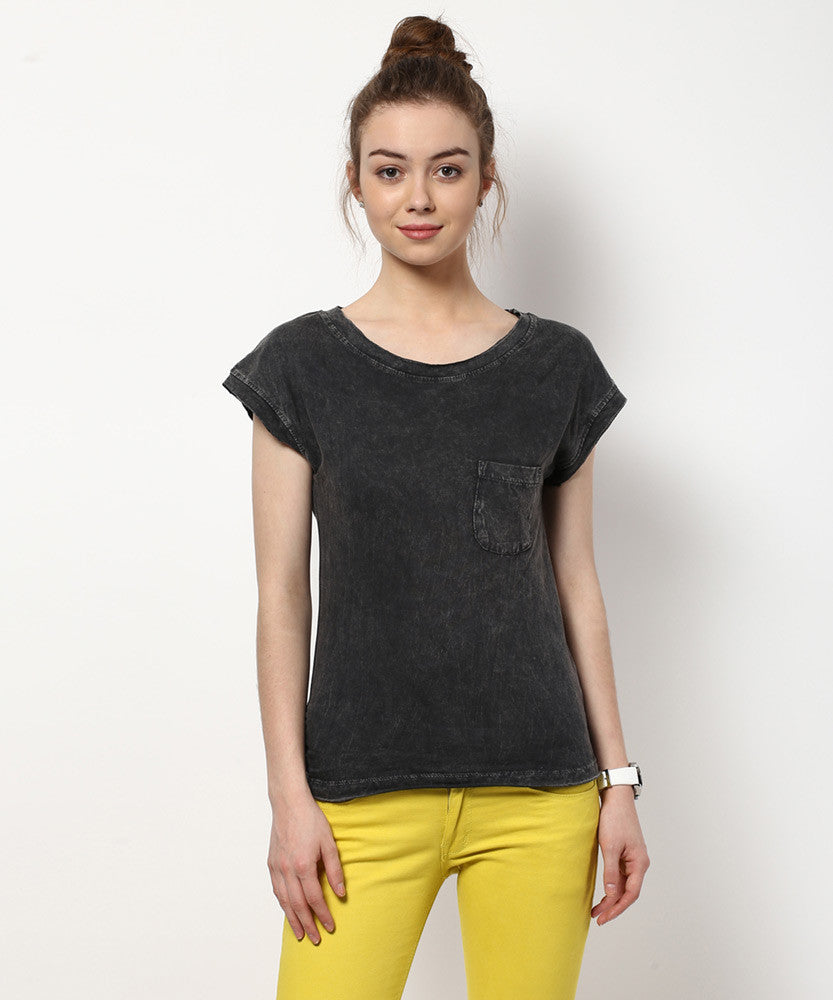 Yepme Clarisa Acid Wash Premium Top - Black