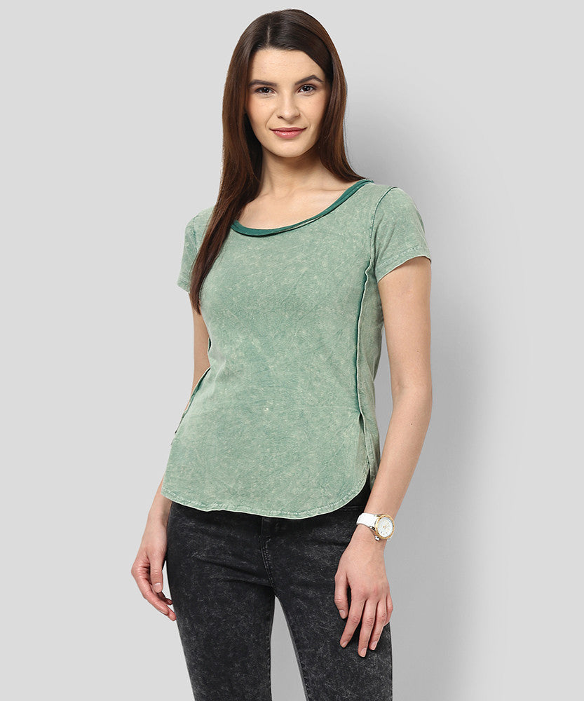 Yepme Celia Acid Wash Premium Top - Green