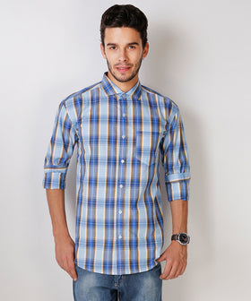Yepme Wilmar Premium Formal Shirt - Blue & Yellow
