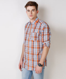 Yepme Wilmar Premium Formal Shirt - Blue & Orange