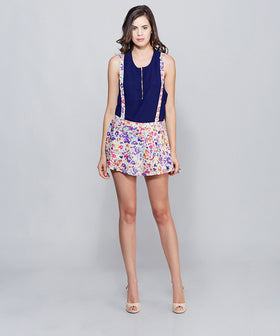 Yepme Georgia Suspender Skirt - Purple & Pink