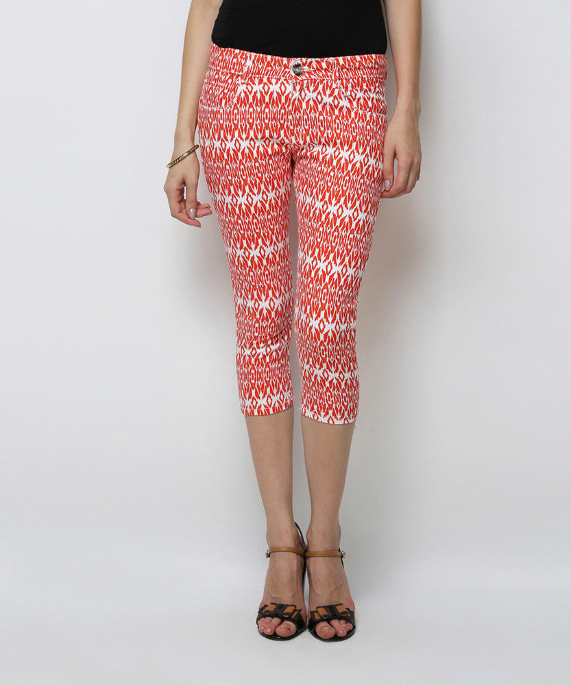 Yepme Benne Printed Capri - Orange & White