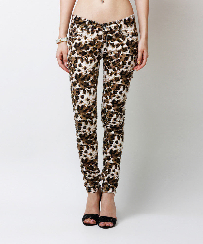 Yepme Estella Printed Pants - Brown