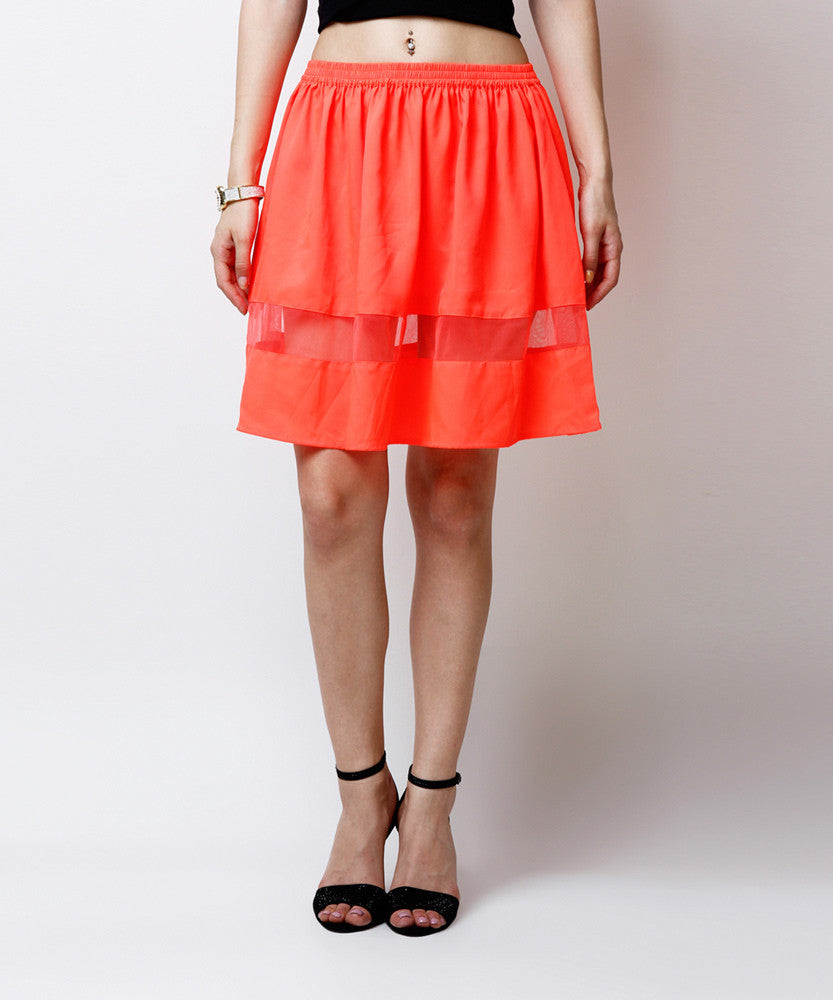 Yepme Arianny Sheer Mini Skirt - Orange