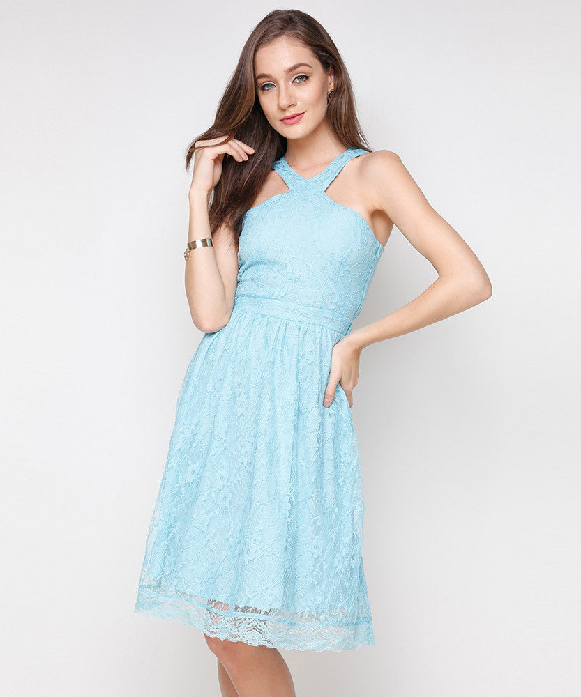 Yepme Kylie Slim Fit Lace Dress - Blue