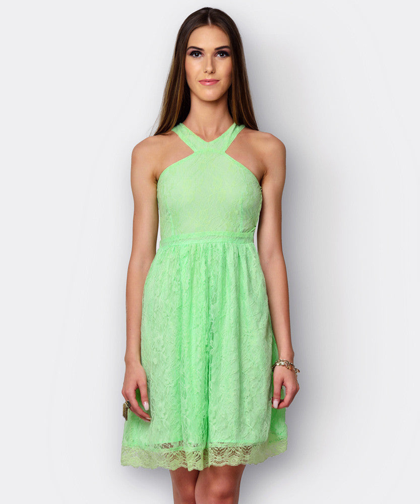 Yepme Kylie Slim Fit Lace Dress - Green