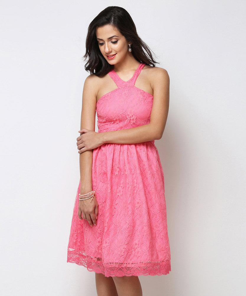 Yepme Kylie Slim Fit Lace Dress - Pink