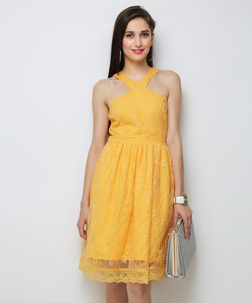 Yepme Kylie Slim Fit Lace Dress - Yellow