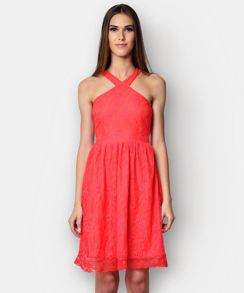 Yepme Kylie Slim Fit Lace Dress - Coral