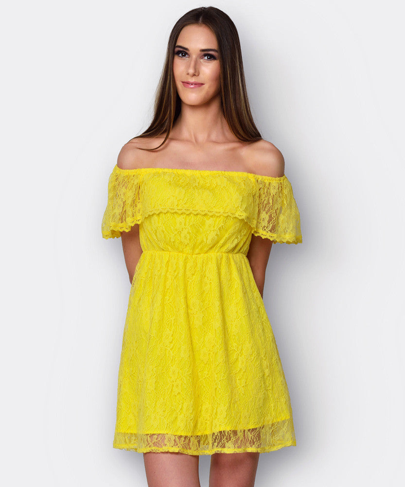 Yepme June Off-Shoulder Dress - Yellow