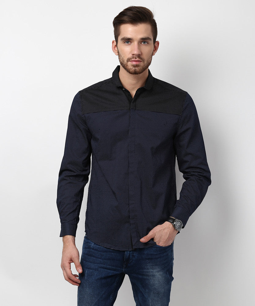 Yepme Ashten Premium Shirt - Black & Blue